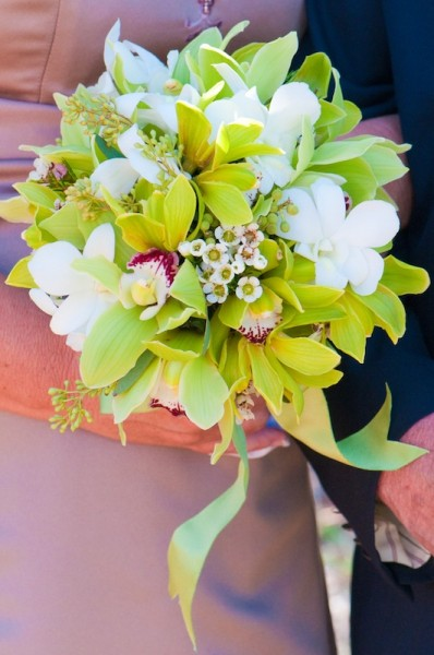 Spring bouquet of green and white orchids