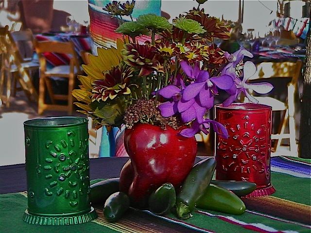 Mexican Fiesta Theme, Cocktail Table Details, Enchantment Resort, Sedona AZ.