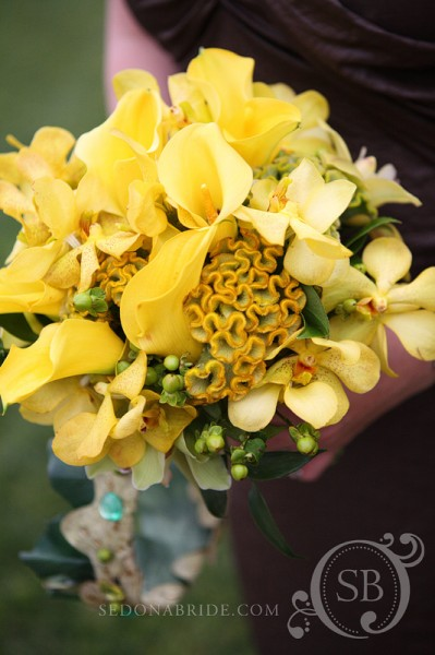 Spring bouquet of mixed yellows and green, Image by SedonaBride.com
