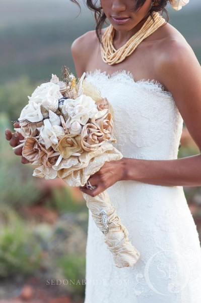 Ribbon bouquet with shells and sea life, Image by SedonaBride.com