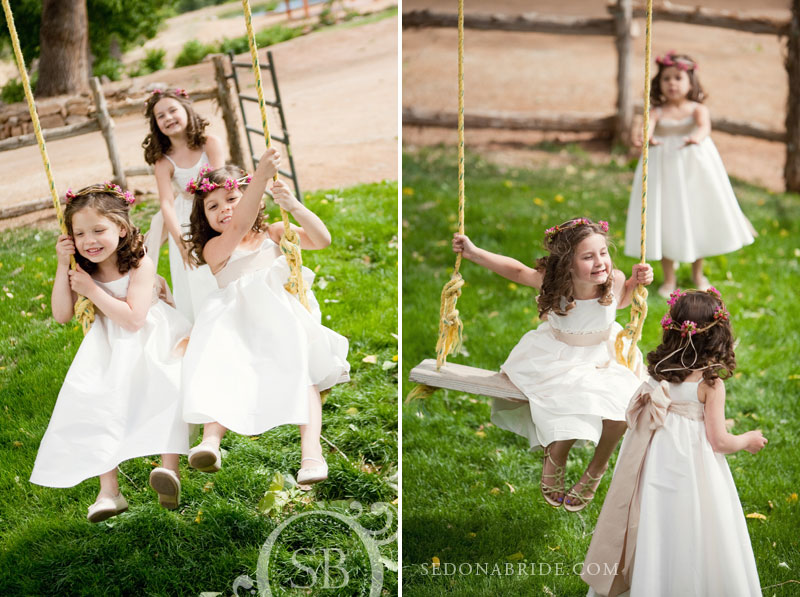Flower girls at Dancing Apache Ranch, Sedona Arizona, Image by SedonaBride.com